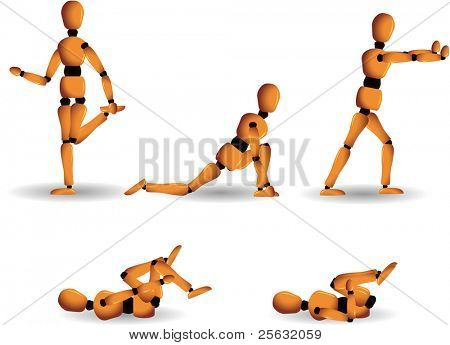 Vector figurine named Woody showing 5 different posture and stretching instructions to practice on a daily basis.  Each posture isolated on a separate layer.