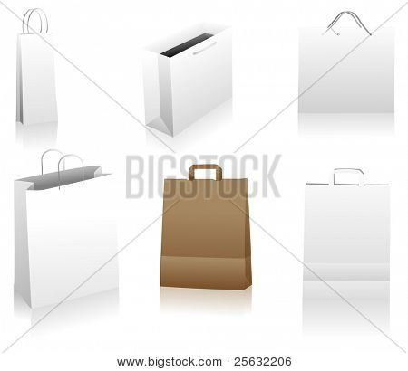 Set of shopping bags. You can place your designs on the surface. Easily editable package. Linear and radial gradients only.