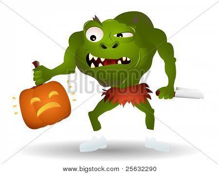 Green monster ready to kill a pumpkin.