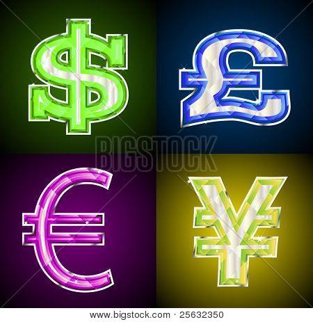 Glowing jeweled money symbols.