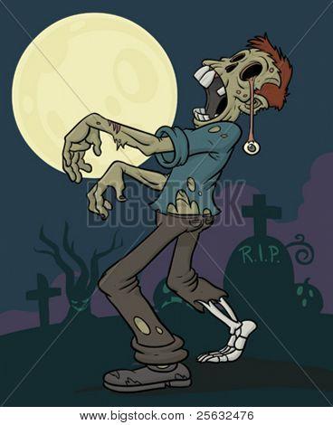 Zombie zu Fuß durch Friedhof