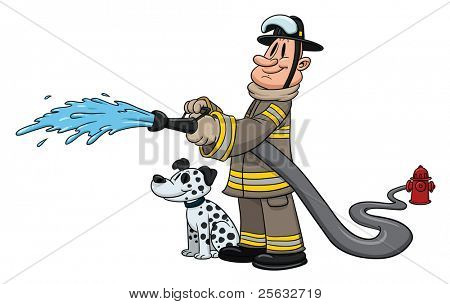Cartoon firefighter with dalmatian dog by his side.
