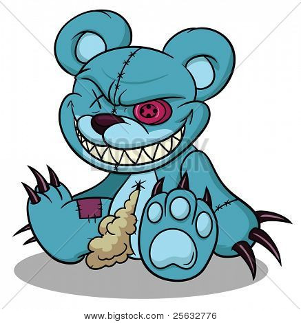 Evil cartoon teddy bear. Character and shadow in separate layers for easy editing.