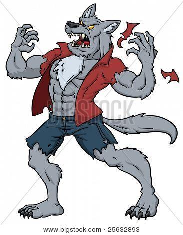 Cartoon werewolf howling.