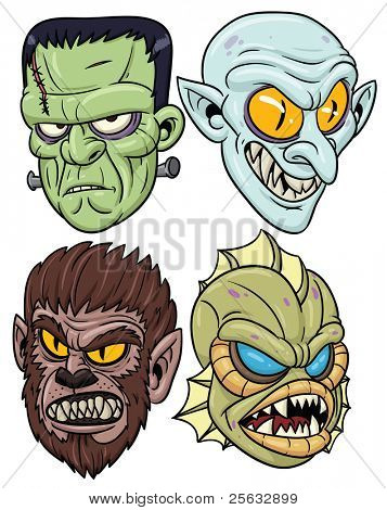 Classic Halloween monsters. All in separate layers for easy editing.