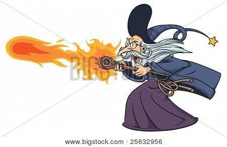 Assistente de desenho animado, lançando um feitiço de fogo. Assistente e fogo em camadas separadas para edição fácil.