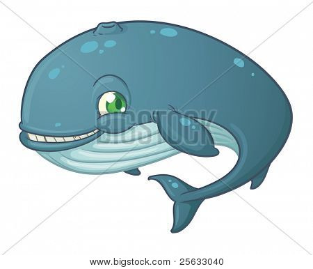 Cute cartoon blue whale calf. Vector illustration with simple gradients.