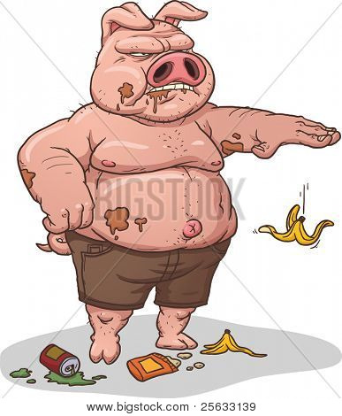 Disgusting pig littering. Vector illustration with simple gradients. Character, trash and shadow in separate layers for easy editing.
