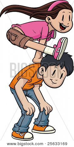 Cute cartoon kids playing leapfrog. Vector illustration with no gradients.