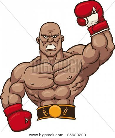 Boxing champion. Vector illustration with no gradients. All in a single layer.