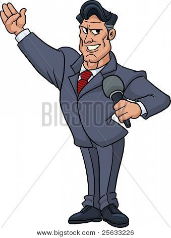 Cartoon television host holding a microphone and smiling. Vector illustration with no gradients. All in a single layer.