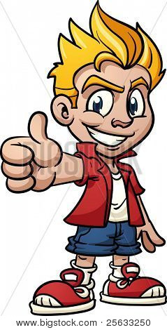 Cool cartoon kid making thumbs-up hand gesture. Vector illustration with simple gradients. One single layer.