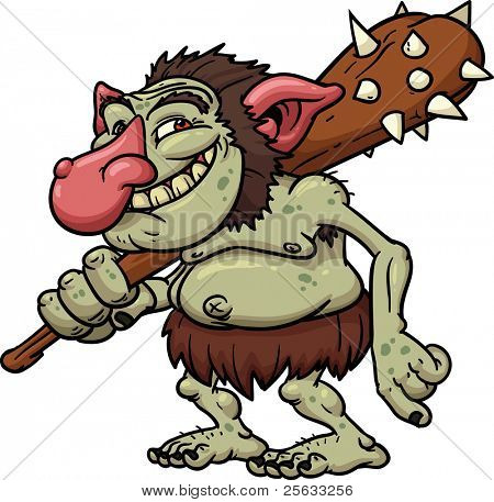 Cartoon Troll holding a club. Vector illustration with no gradients. All in a single layer.
