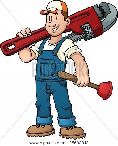 Cartoon plumber holding a big wrench. Vector illustration with simple gradients.