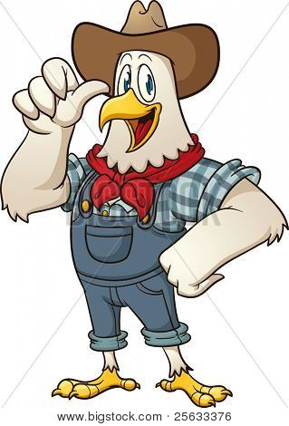 Happy farmer chicken. Vector illustration with simple gradients. All in a single layer.