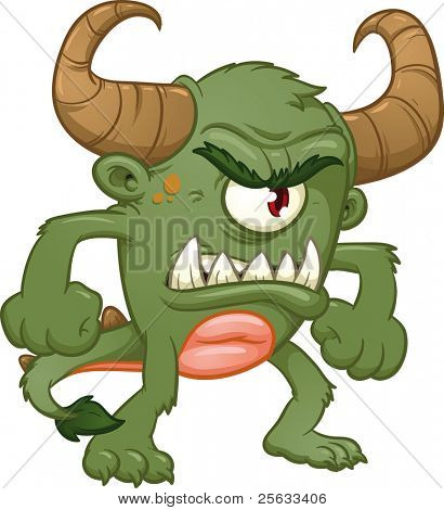 Angry green monster. Vector illustration with simple gradients. All in a single layer.