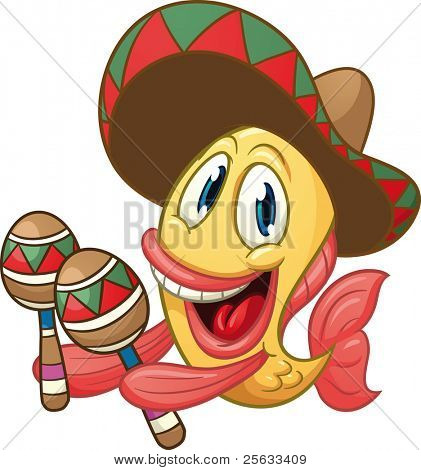 Cute, cartoon Mexican fish playing the maracas. Vector illustration with simple gradients. All in a single layer.