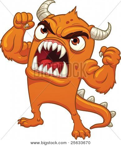 Cartoon orange monster screaming. Vector illustration with simple gradients. All in a single layer.