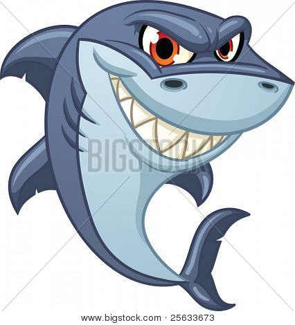 Cool cartoon shark. Vector illustration with simple gradients. All in a single layer.