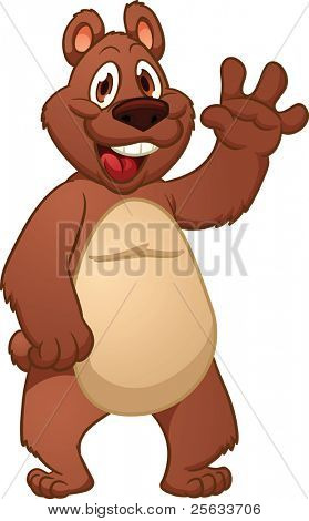 Cute cartoon bear. Vector illustration with simple gradients. All in a single layer.