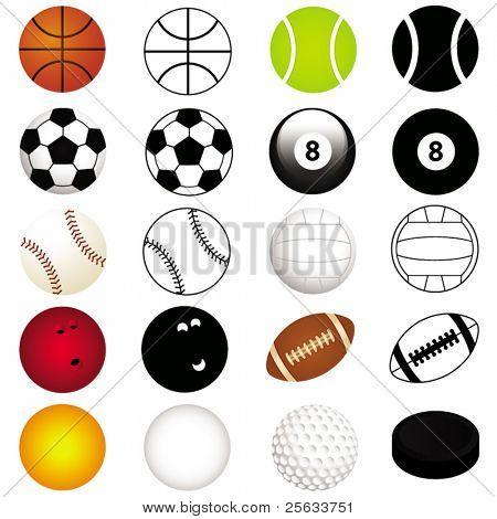 Постер, плакат: Векторный набор видов спорта: Различные виды шаров в цвете и силуэт, холст на подрамнике