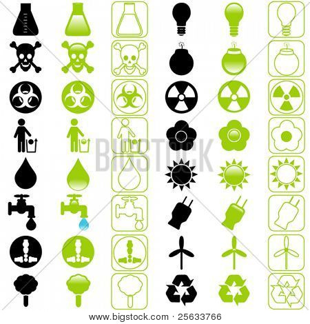 A set of Vector icons : Energy and Environmental Conservation (silhouette/line)