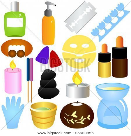 A set of Colorful Vector - Beauty tools, Spa Icons, Relaxation, Massage
