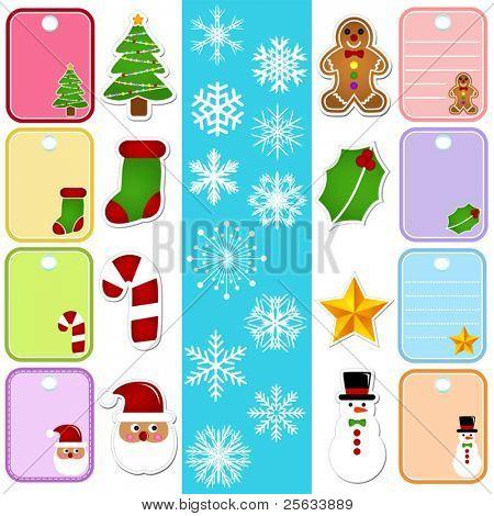 Eine bunte Reihe von Vektor-Icons: Schneeflocke und Weihnachten Papier Tag/Aufkleber
