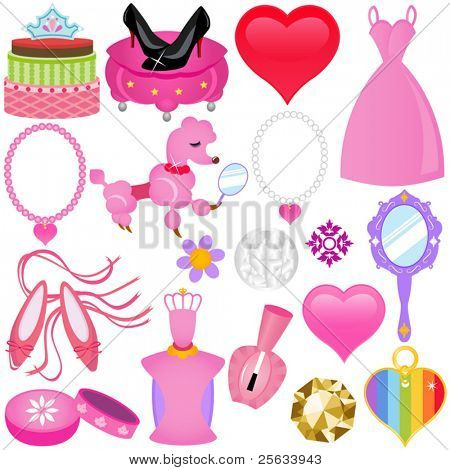 A colorful set of Vector Icons : Sweet Pink Princess Set for Diva