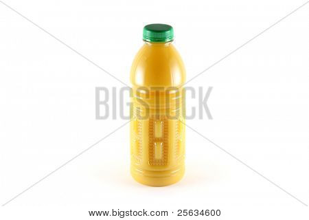 A Bottle of orange juice with pulps, isolated on white
