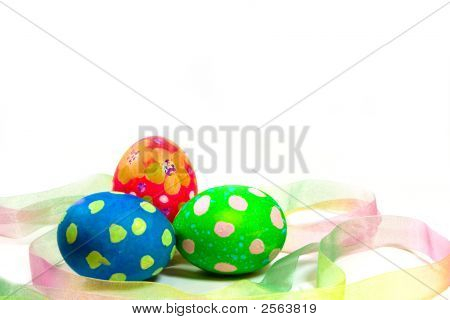 Handpainted Easter Eggs And Ribbon