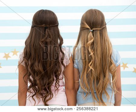 poster of Hairdresser Salon Services. Two Little Girls Kids With Long Hair At Hairdresser. Little Girls With L