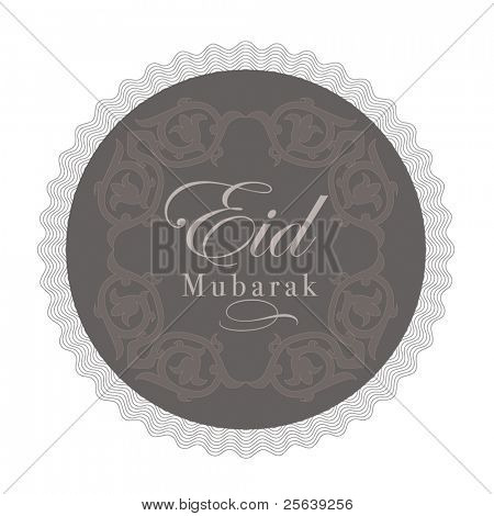 'Eid Mubarak' greetings in english script on a decorative background
