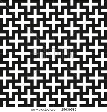 A b&w vector patterns made with 'plus' sign.