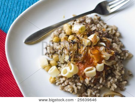 'Kushari'- A popular Egyptian rice dish.