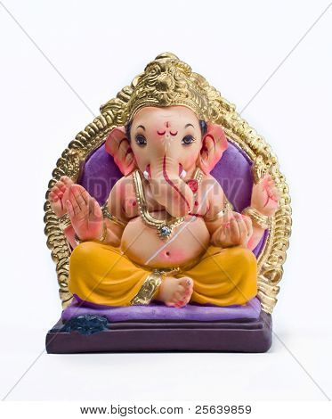 A  statue of an Indian god, Lord Ganesha on white background.
