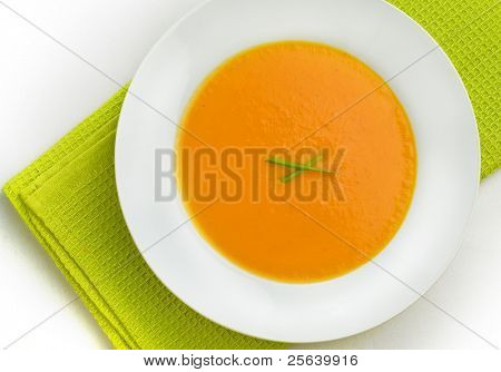 Top view of pumpkin soup