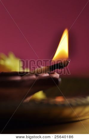 Extreme close up of indian lamp