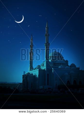 A ramadan moon and the mosque.