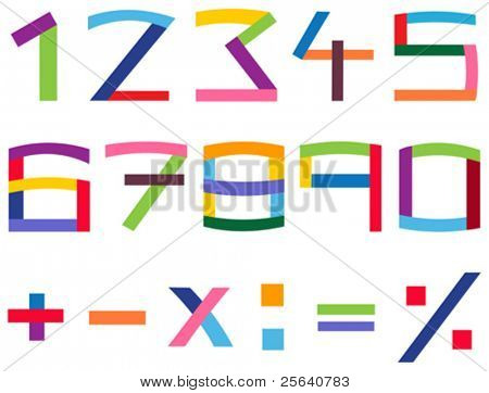 Colorful number and math symbol set