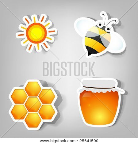 set of design elements for advertising beekeeping products