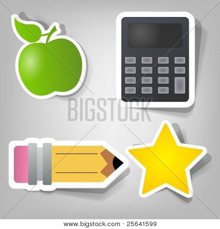conjunto de elementos de diseño para anunciar el tiempo de la escuela