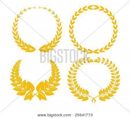 Four golden laurel brunches isolated on white