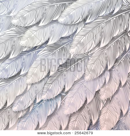 Seamless background of white feathers, close up. Vector illustration.
