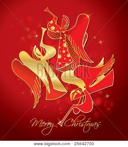Christmas red and gold figured Angels on a red background. Vector illustration.