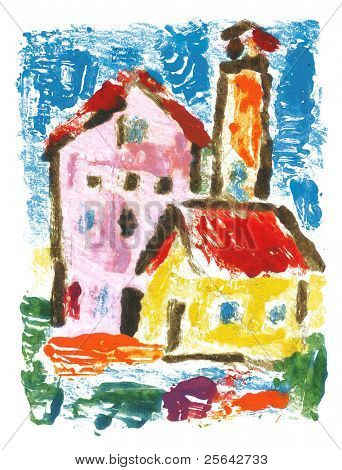 Small houses, children's drawing. Imprint of the drawing in oils.