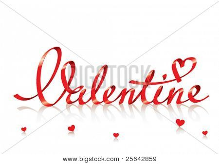 Valentine card with red lettering and small hearts. For themes like love, valentine's day, holidays. Vector illustration.