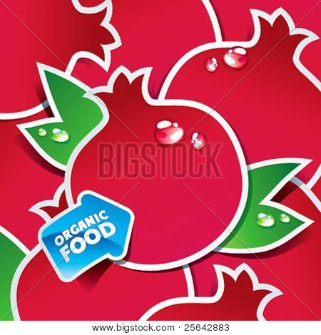 Background from pomegranates with an arrow by organic food. Vector illustration.