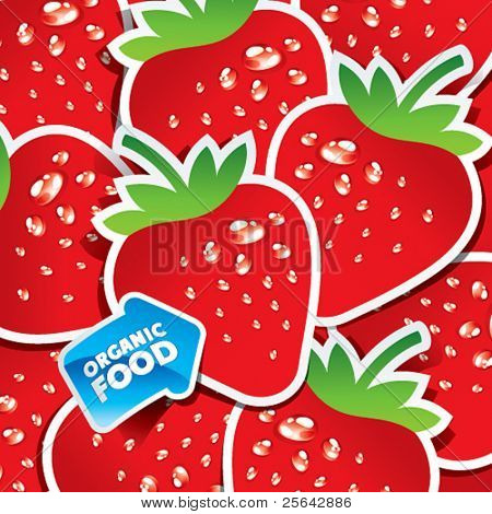 Background from strawberries with an arrow by organic food. Vector illustration.
