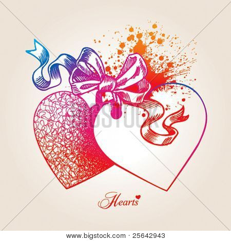 Valentine card with two hearts, bow and ribbons on a beige background. Hand drawn illustration, vector.